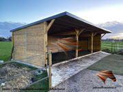 Weidehütte Offenställe Pferdeunterstand Futterraufe für