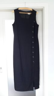Schwarzes Leinen-Mix-Kleid Größe40 mit Überwurfbluse