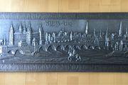 Massives Zinnbild - Relief Aschaffenburg großes