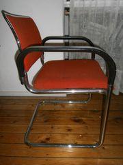 3 Freischwinger Stühle rot mit