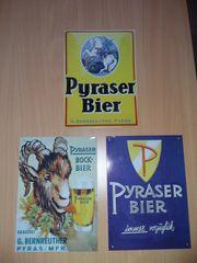 3 Blechschilder Pyraser Bier
