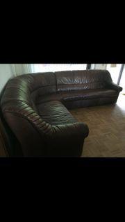 Leder-Couchgarnitur mit Sessel