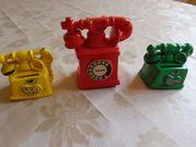 Vintage - 3 kleine Keramik-Deko-Telefone oder