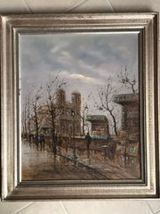 Gemälde Paris Straßenverkäufer Notre Dame