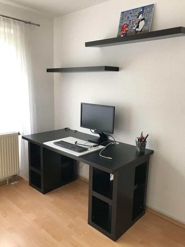 Schwarzer Schreibtisch optional mit zwei