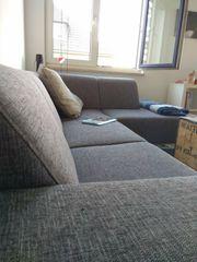 3er Liegeelement grauer Stoff Couch