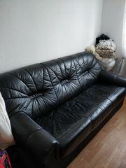 3-Sitzer Sofa Leder schwarz