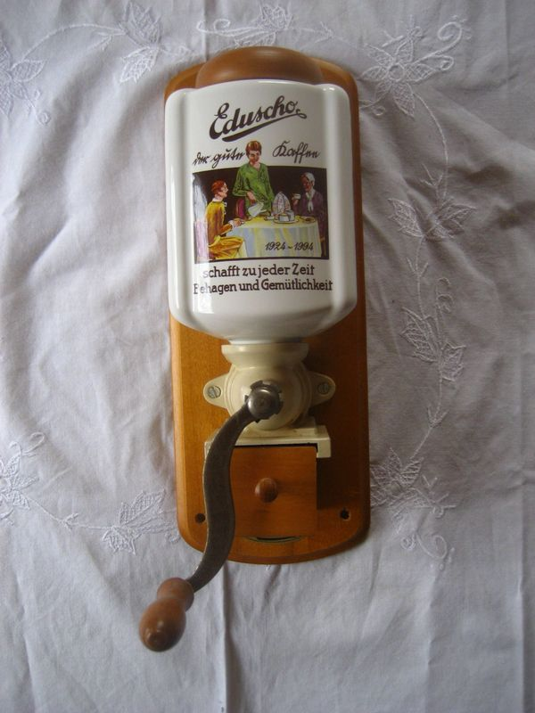 Wandkaffeemühle Eduscho Porzellan Handkaffeemühle Mühle