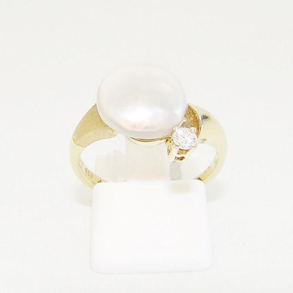 Ring Gold 585er Brillanten Biwa-Perle
