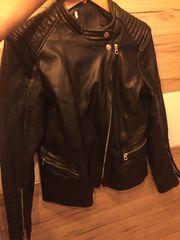 unechte fake Lederjacke schwarz Übergangsjacke