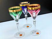 3 X OERTEL Goldrand Kristallglas