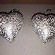 Herzen silber-weiß krakeliert Deko Aufhänger