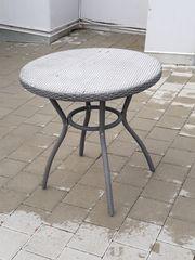 Gartentisch rund Kunstgeflecht Metallgestänge gebraucht