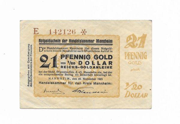 Notgeldschein 21 Pfennig Gold