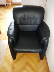 3-2-1 Couchgarnitur schwarz Leder