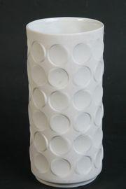 Weiße Op Art Vase Biscuit-Porzellan