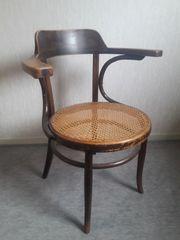 Bugholz-Sessel mit Sitzfläche aus Korb