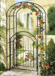 Rosenbogen mit Gartentür Metall Garten