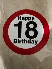 Schild 18 Geburtstag Plastik