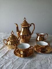 Mocca-Service von Bareuther Bavaria goldfarben