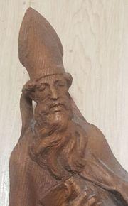 Antike Holzfigur Heiliger Urban Bischof
