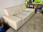 Ledercouch Cremefarben Beige Couch Sofa