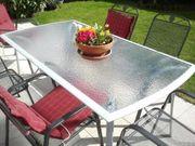 Wetterfestes Gartenmöbel-Set Gartentisch mit Glasplatte
