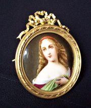 Porzellan Miniatur feuer vergoldet handgemalt