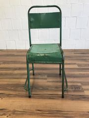 Besucherstuhl Grün Vintage Blech Industrial