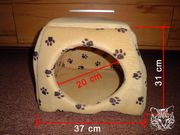 Katzen Kuschelhöhle beige mit Pfötchen