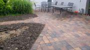 Gartengestaltung Platten Pflaster Bagger Einfahrt
