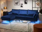 Ecksofa Samtstoff marineblau mit LED-Beleuchtung