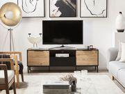 TV-Möbel schwarz heller Holzfarbton ARKLEY neu