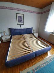 Polsterbett blau 180 cm