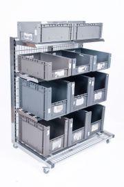 Verkaufsregal inkl Kisten rollbar Verkaufsständer