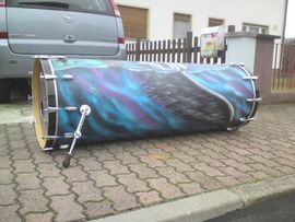 Drums, Percussion, Orff - Extreme Monsterbassdrum mit Airbrush Unikat-Weltrekord