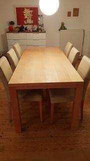 Ahorntisch mit 6 Stühlen