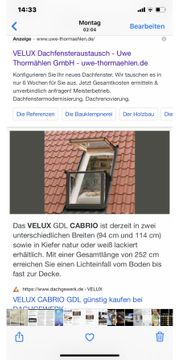 VELUX Cabrio Dach Single