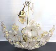 herrliche Deckenlampe Blumenlampe Messing-Glas