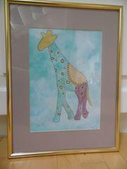Bild Aquarell handgemalt Giraffe