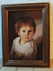 Gobelin-Stickbild Weinender Junge