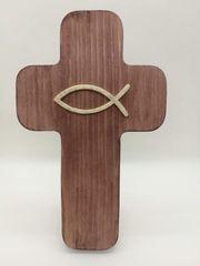 Dekoratives Holzkreuz mittelbraun Deko Geschenkartikel