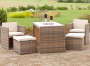 Balkonmöbel Lounge-Set Merano Savannagrau 11-teilig