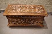 Holz Schatulle Box geschnitzt Kornblume