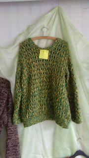 Pullover gelb grün handgestrickt