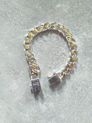 925 Panzer Armband Gold Silber