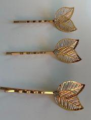 3 Haarspangen zum Einschieben Blätter