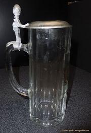 Glas Bierkrug mit Zinndeckel Bayrische