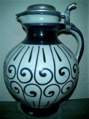 Henkel-Krug mit Zinndeckel Westerwälder Keramik
