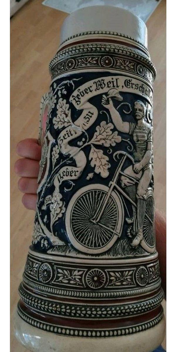 ZinnDeckel Bierkrug alt m RadfahrerMotiv